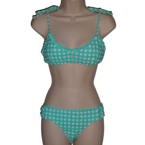The Bikini Lab blue check bralette bikini M
